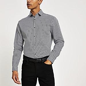 Zwart slim-fit overhemd met schaakbordprint