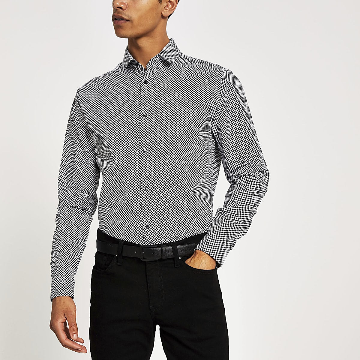 Black slim fit checkerboard print shirt
