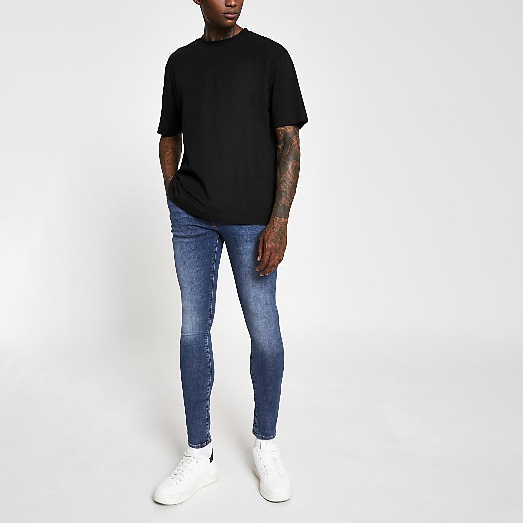 Ollie - Middenblauwe spray-on skinny jeans