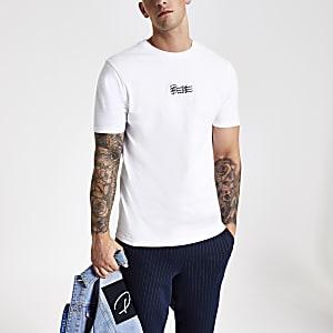 Wit slim-fit T-shirt met geborduurde prolific-print