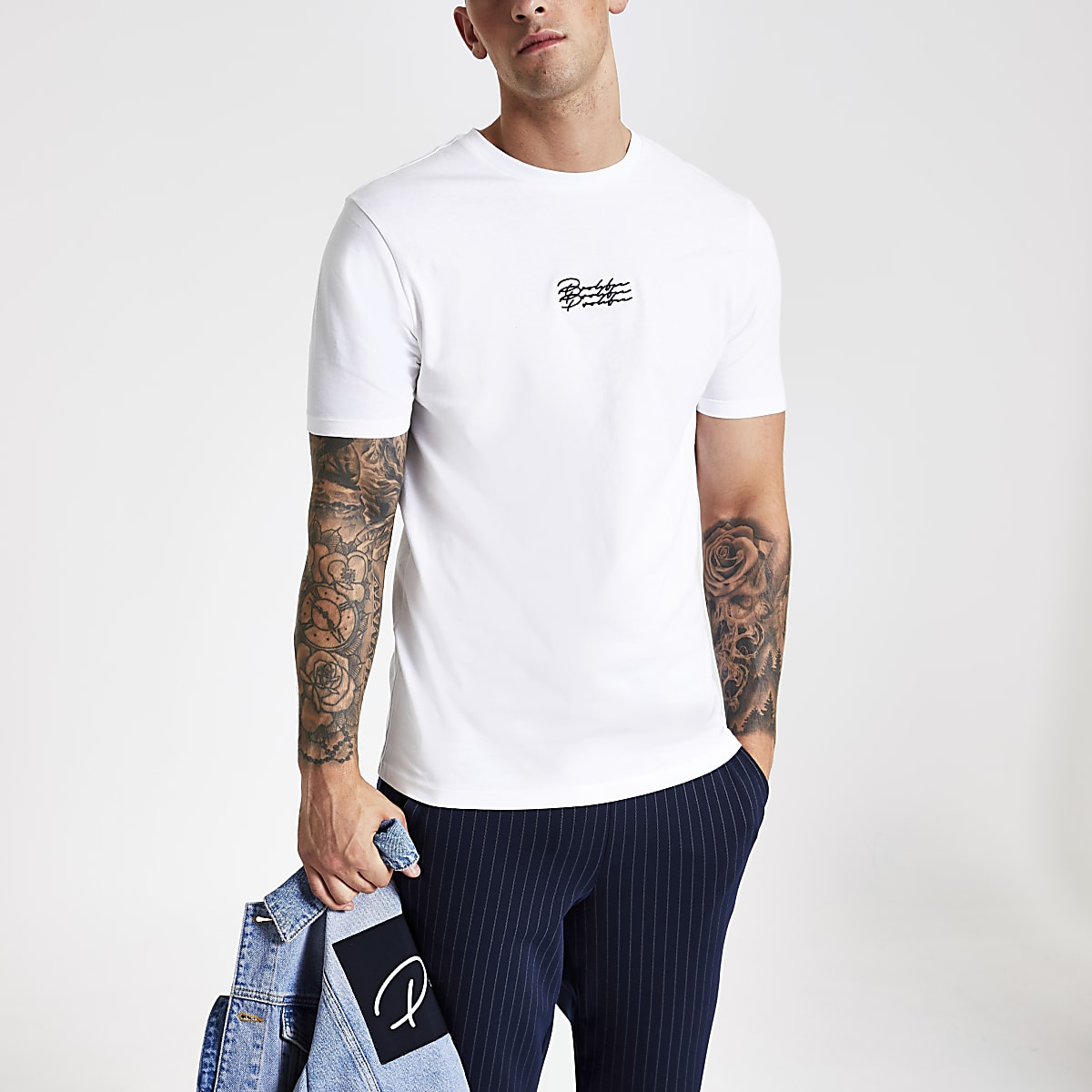 White 'Prolific' embroidered slim fit T-shirt