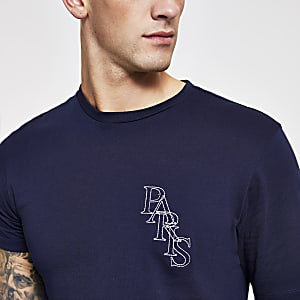 Navy 'Paris' embroidered slim fit T-shirt