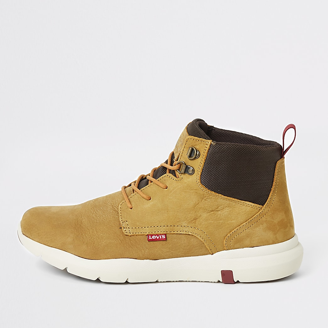 Levi's brown leather lace-up ankle boots