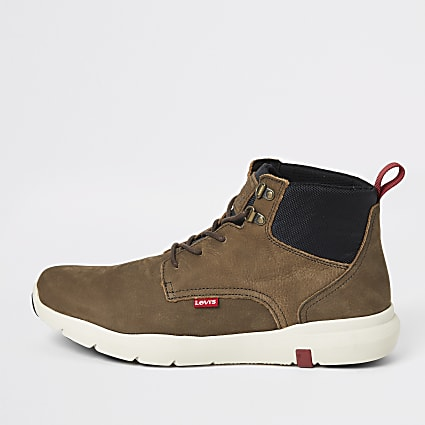 Levi's dark brown leather lace-up ankle boots