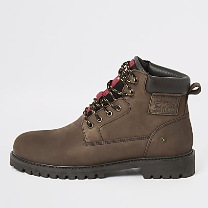 Levi's dark brown Hodges lace-up ankle boots