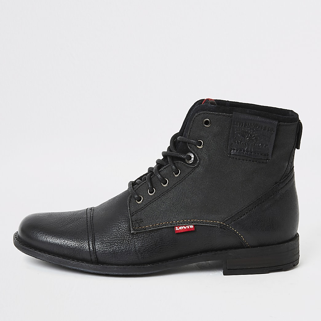 Levi's black Fowler lace-up ankle boots