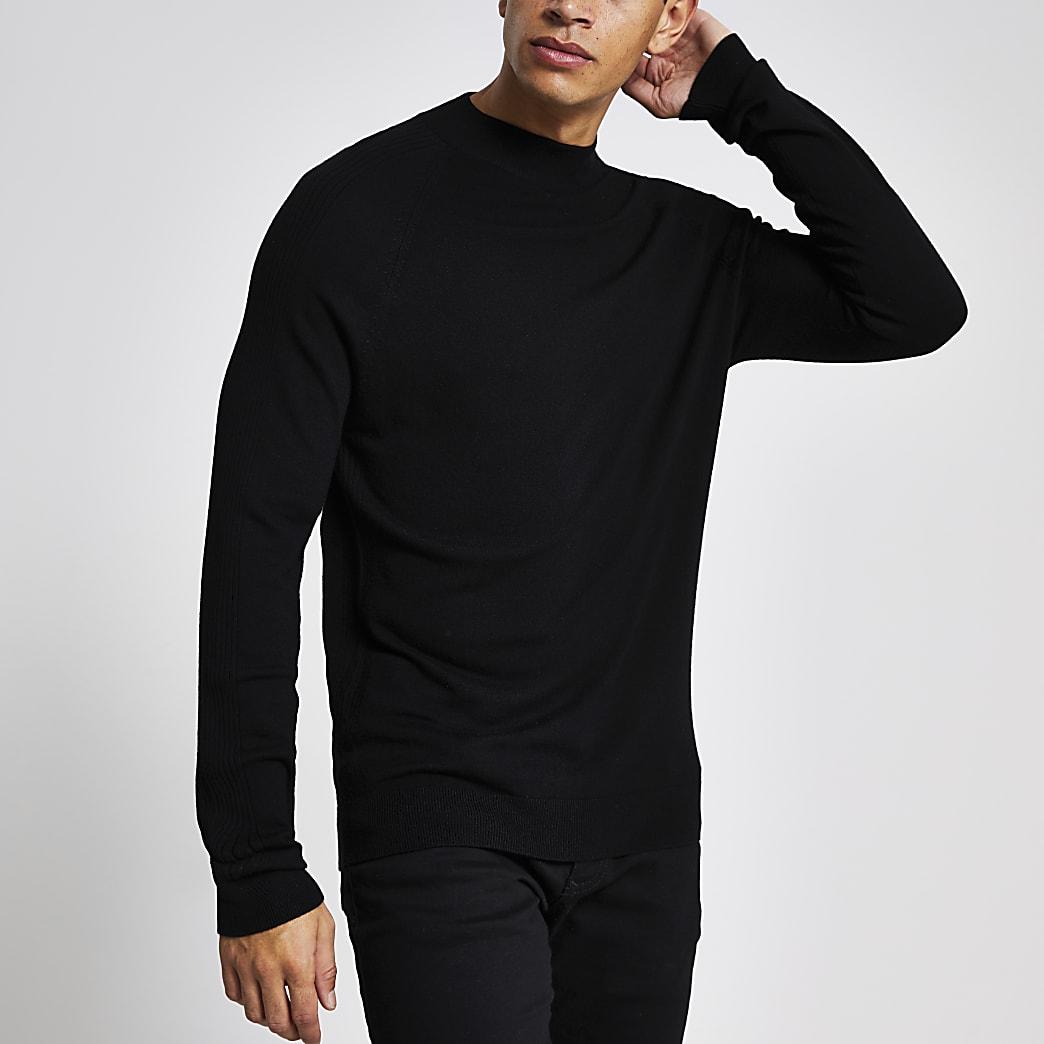 Zwarte gebreide slim-fit pullover met col
