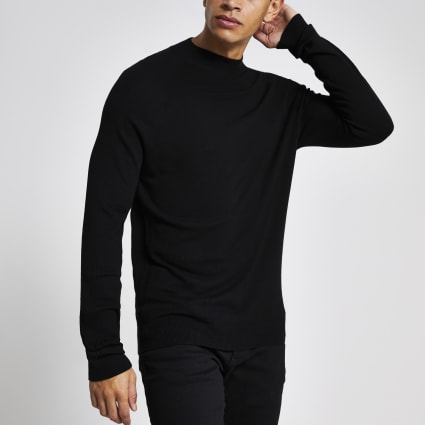 Black slim fit turtle neck knitted jumper