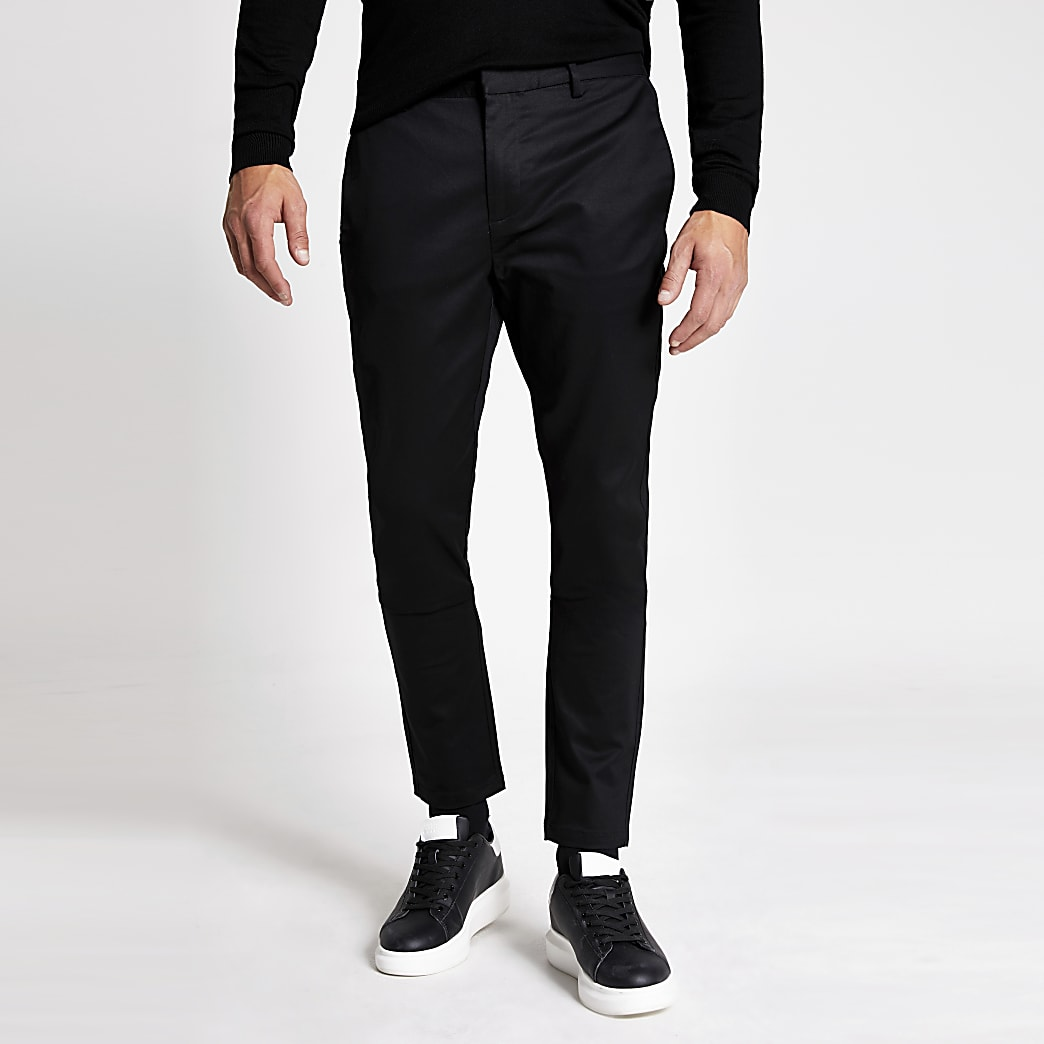 Black skinny smart chino trousers
