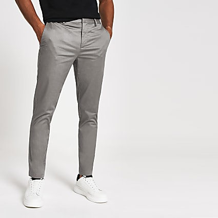 Dark grey smart skinny fit chino trousers