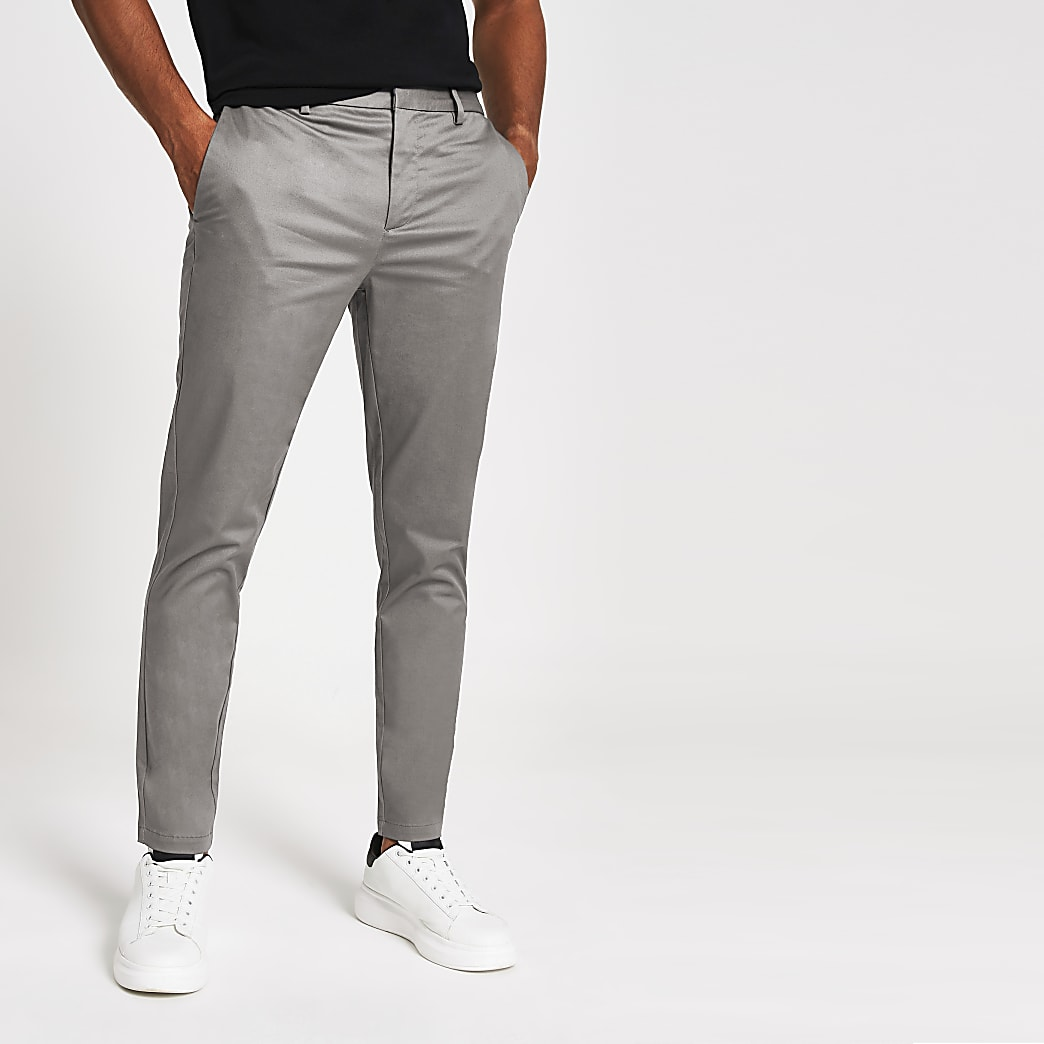 Donkergrijze nette skinny-fit chino