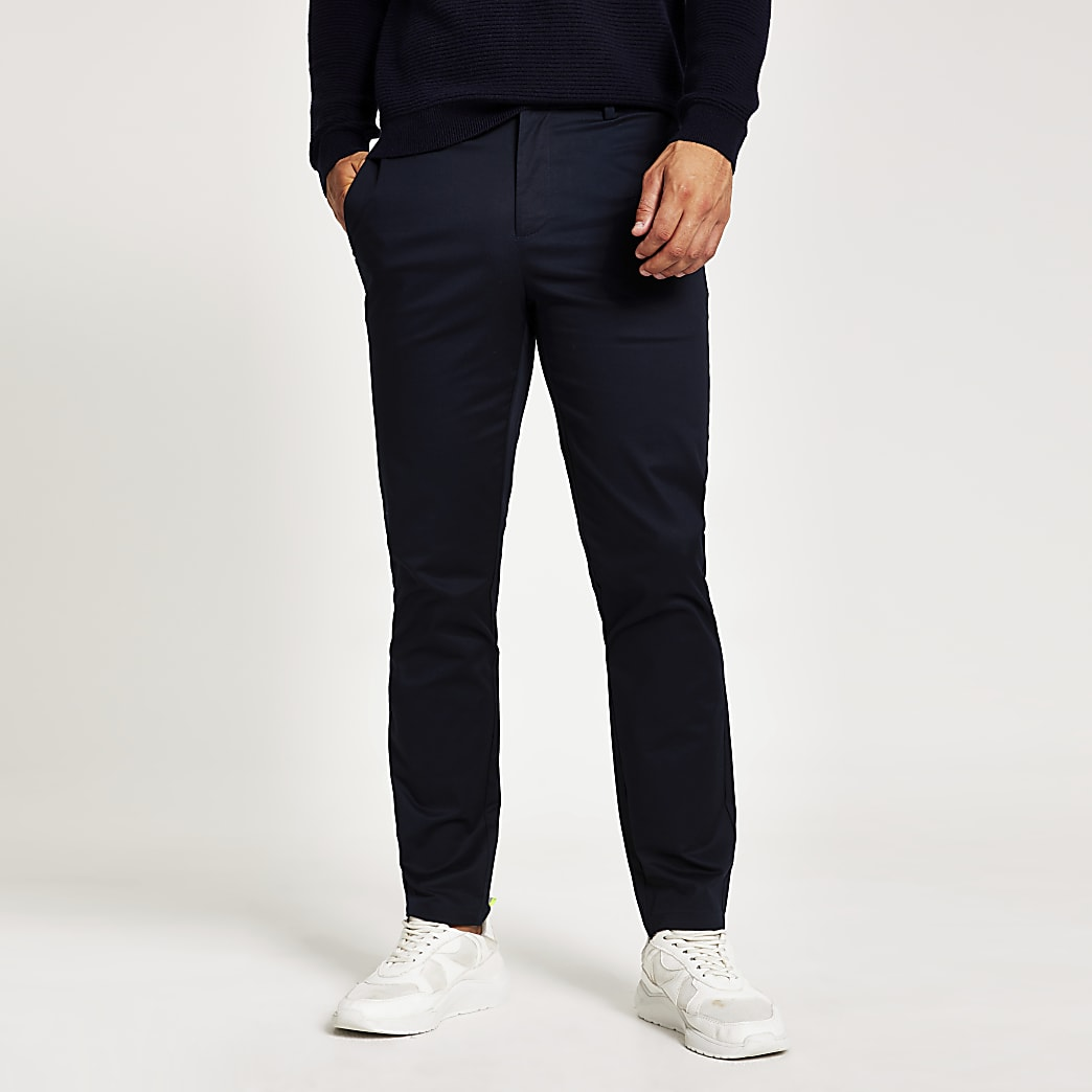 Pantalon chino bleu marine coupe slim