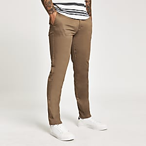 Pantalon chino slim marron clair
