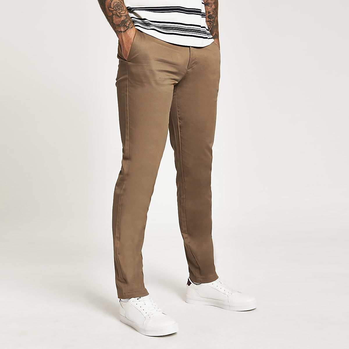 Light brown slim fit Dylan chino trousers