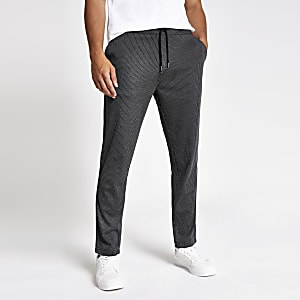 Pantalon skinny rayé gris à cordon de serrage