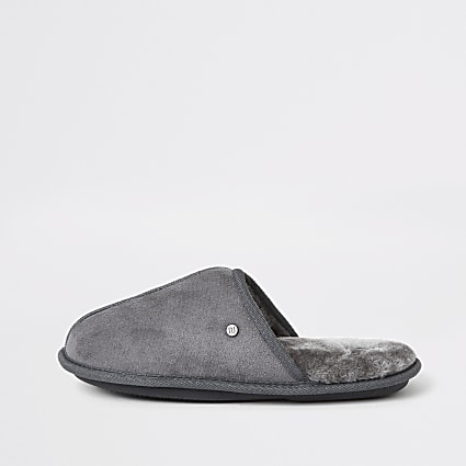 Grey faux fur lined mule slippers