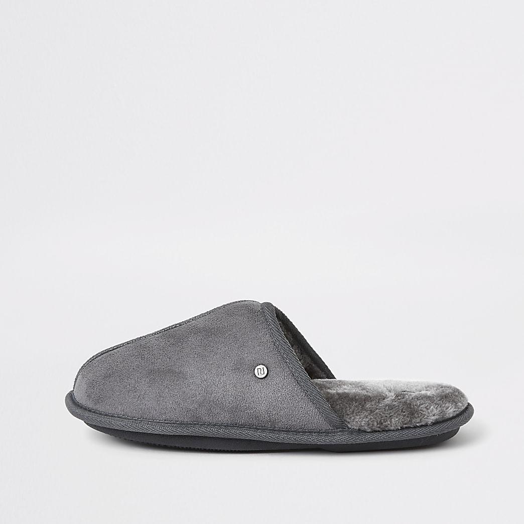 Grey faux fur lined mule slippers