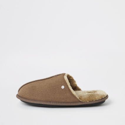 Brown faux fur lined mule slippers