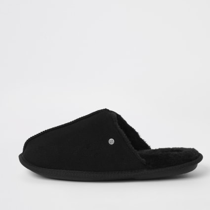 Black faux fur lined mule slippers