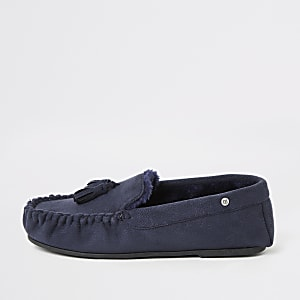 Marineblauwe moccasin pantoffels gevoerd met imitatiebont