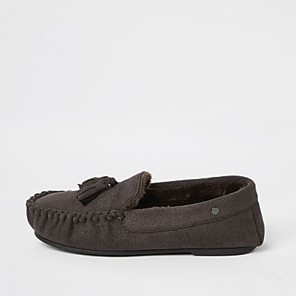 Dark brown faux fur lined moccasin slippers