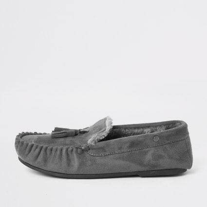 Grey faux fur lined moccasin slippers