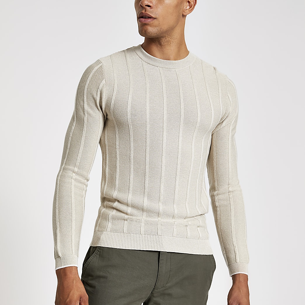 Stone muscle fit knitted crew neck jumper