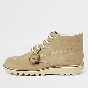 Kickers  light brown leather lace-up boots