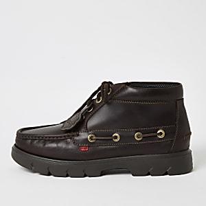 Kickers - Bruine leren schoenen met vetersluiting