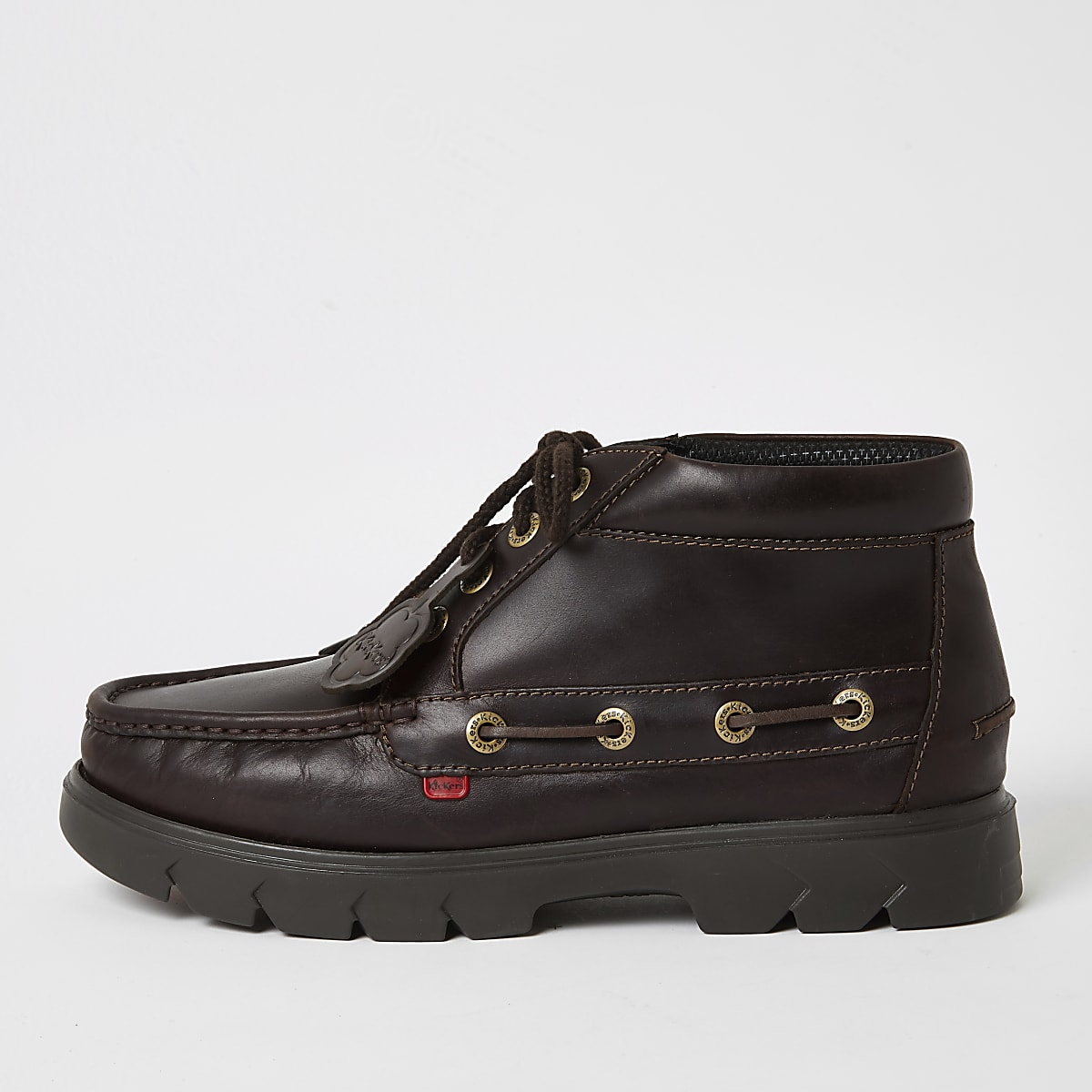 Kickers brown leather lace-up shoes