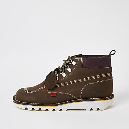Kickers brown leather lace-up hiking boots