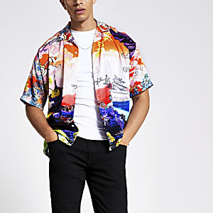 Jaded London white print short sleeve shirt