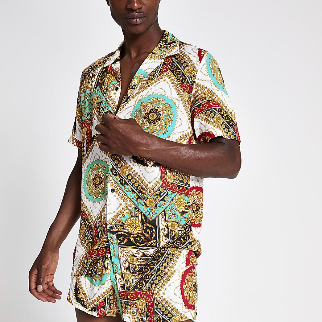 Jaded London white baroque regular fit shirt