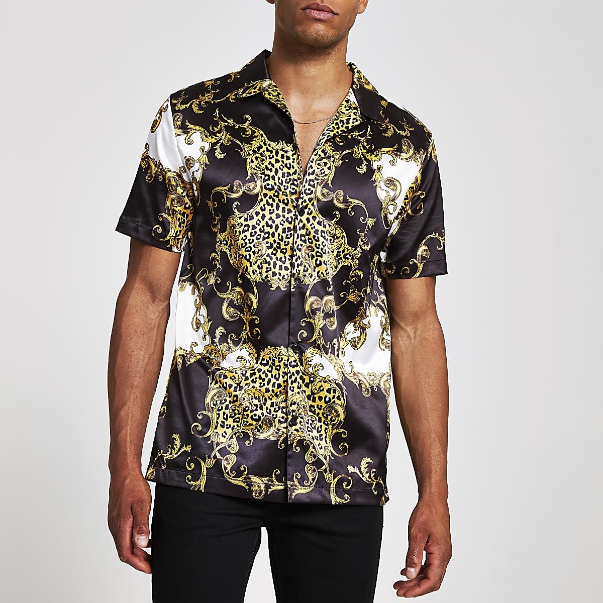 Jaded London - Zwart overhemd met barokprint en korte mouwen