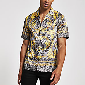 Jaded London – Chemise motif serpent grise à manches courtes