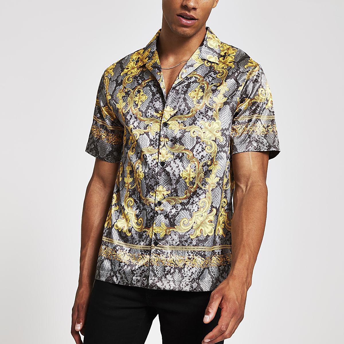 Jaded London - Grijs overhemd met slangenprint en korte mouwen