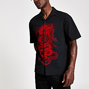 Jaded London black dragon print shirt