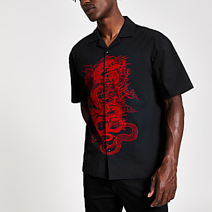 Jaded London black dragon print short shirt