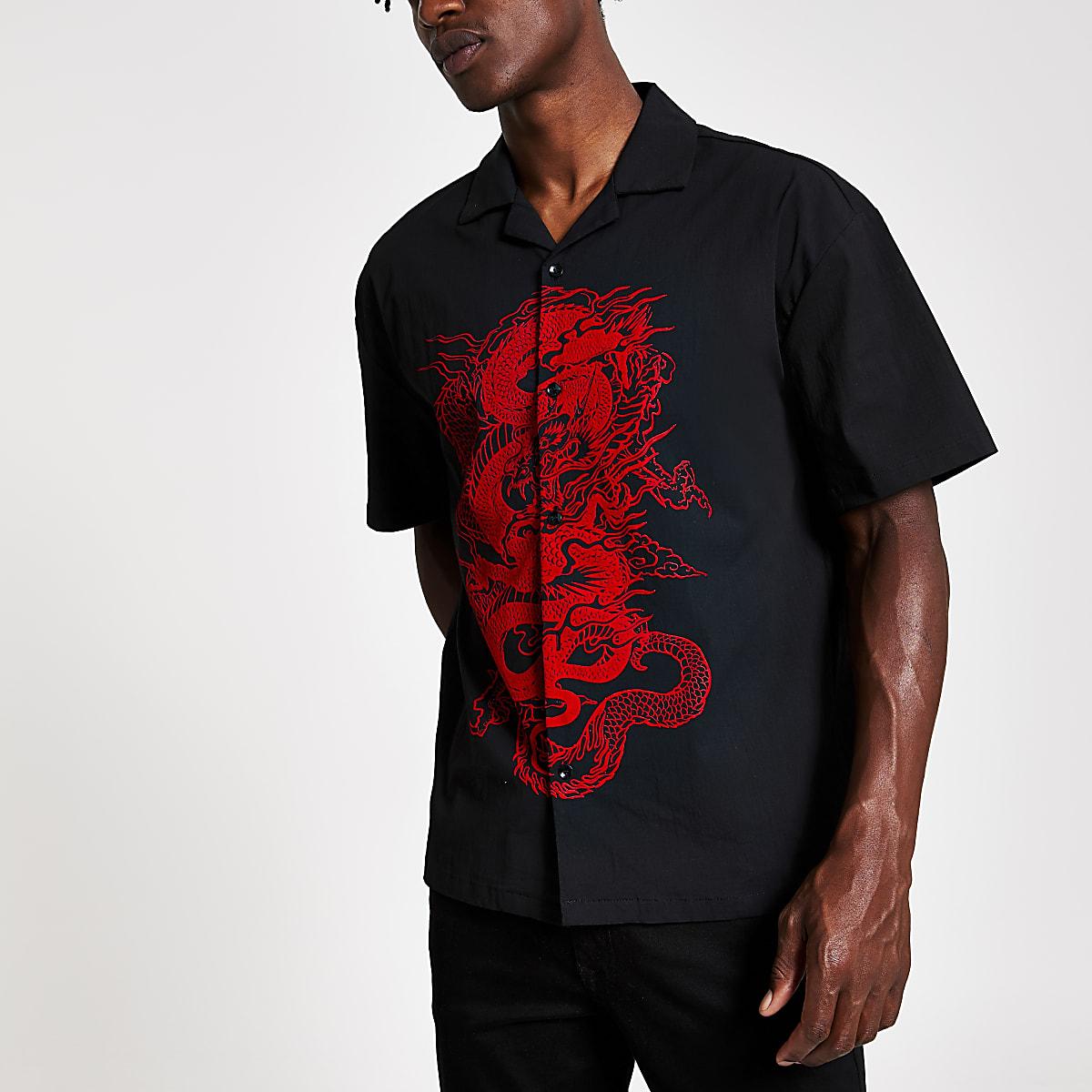 Jaded London - Chemise classique noire motif dragon