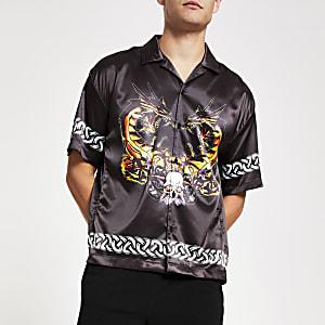 Jaded London – Schwarzes, bedrucktes Hemd