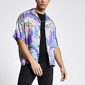 Jaded London - Paars overhemd met psychedelische print