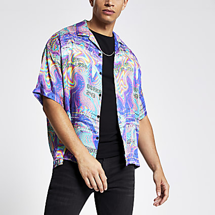 Jaded London purple print short sleeve shirt