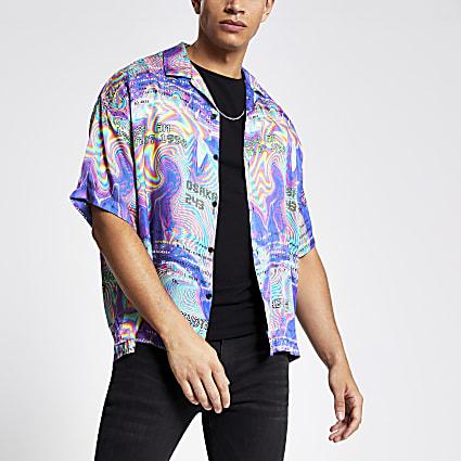 Jaded London purple print regular fit shirt