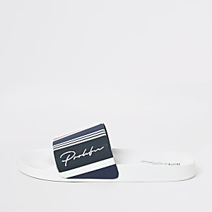 Navy Prolific stripe sliders
