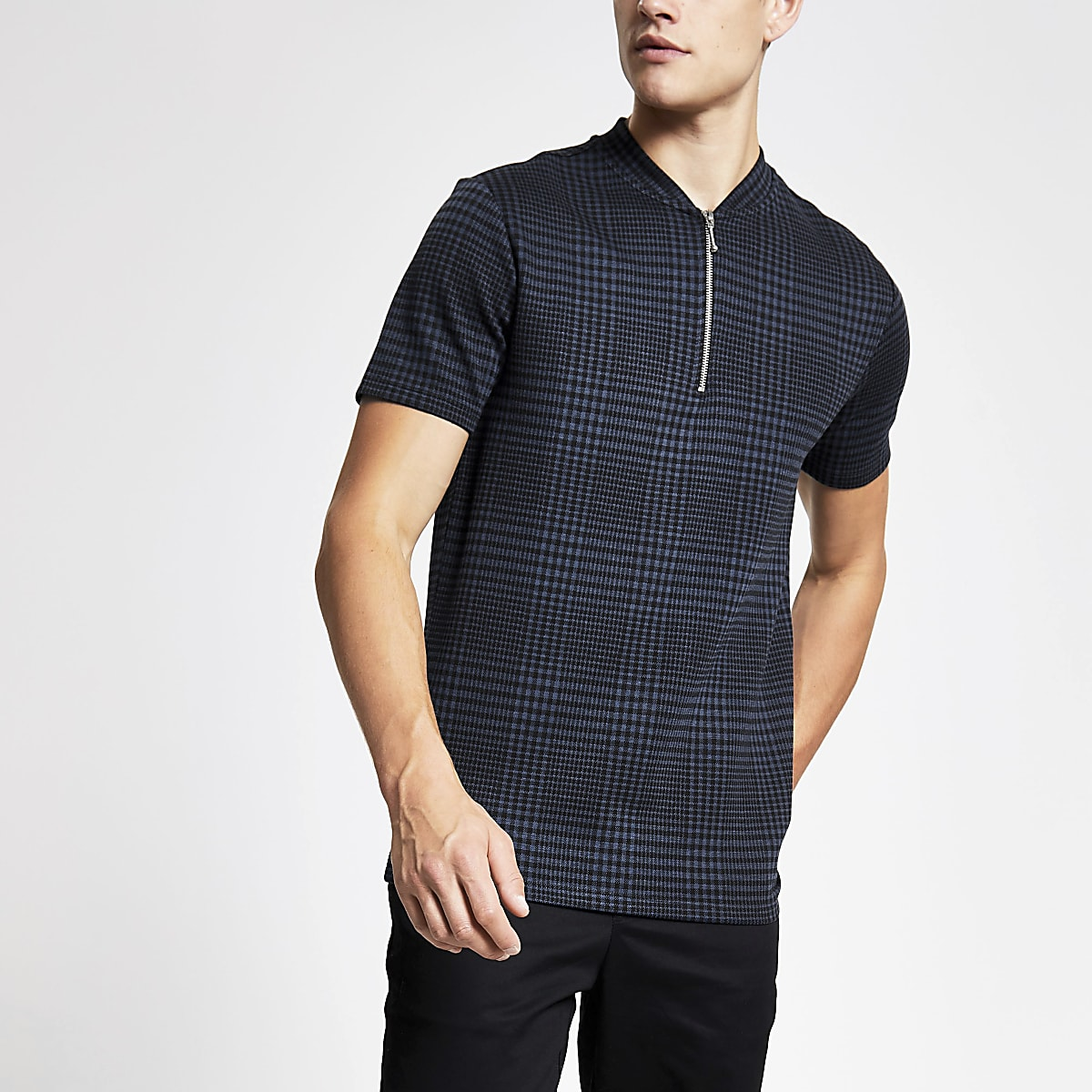 Navy check zip neck slim fit polo shirt