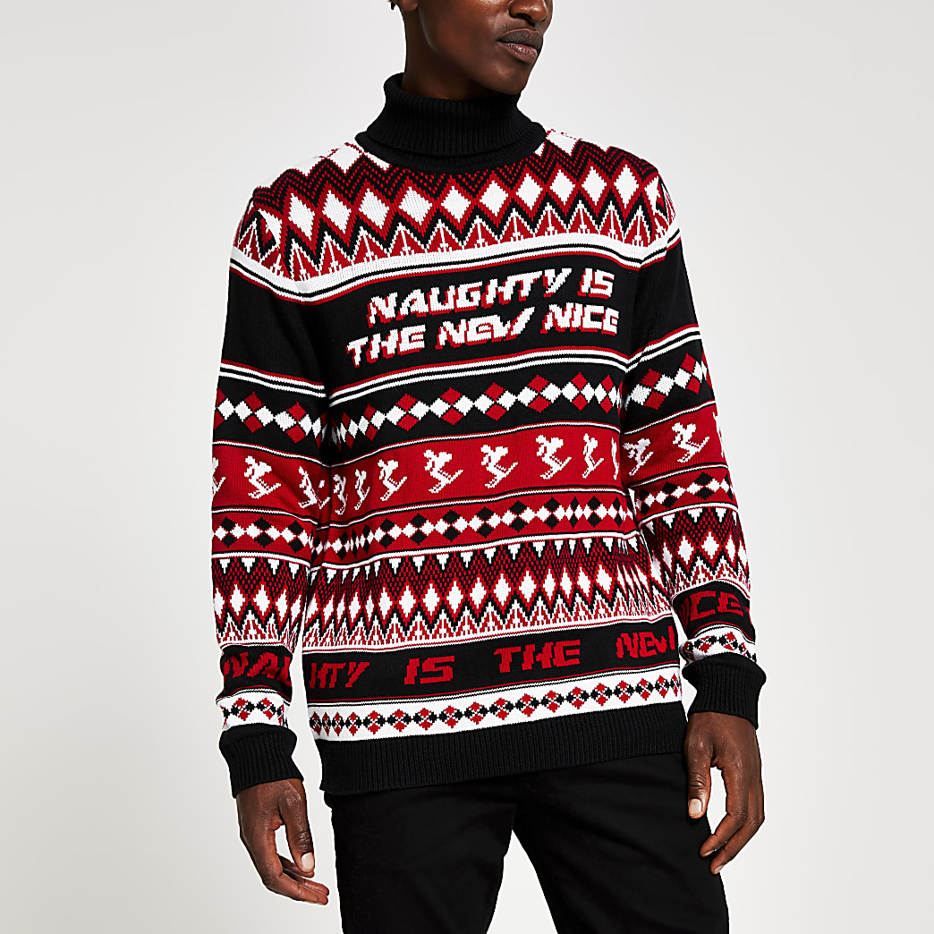 Red roll neck printed Christmas jumper