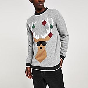 Grau melierter Weihnachtspullover mit Rentier-Print