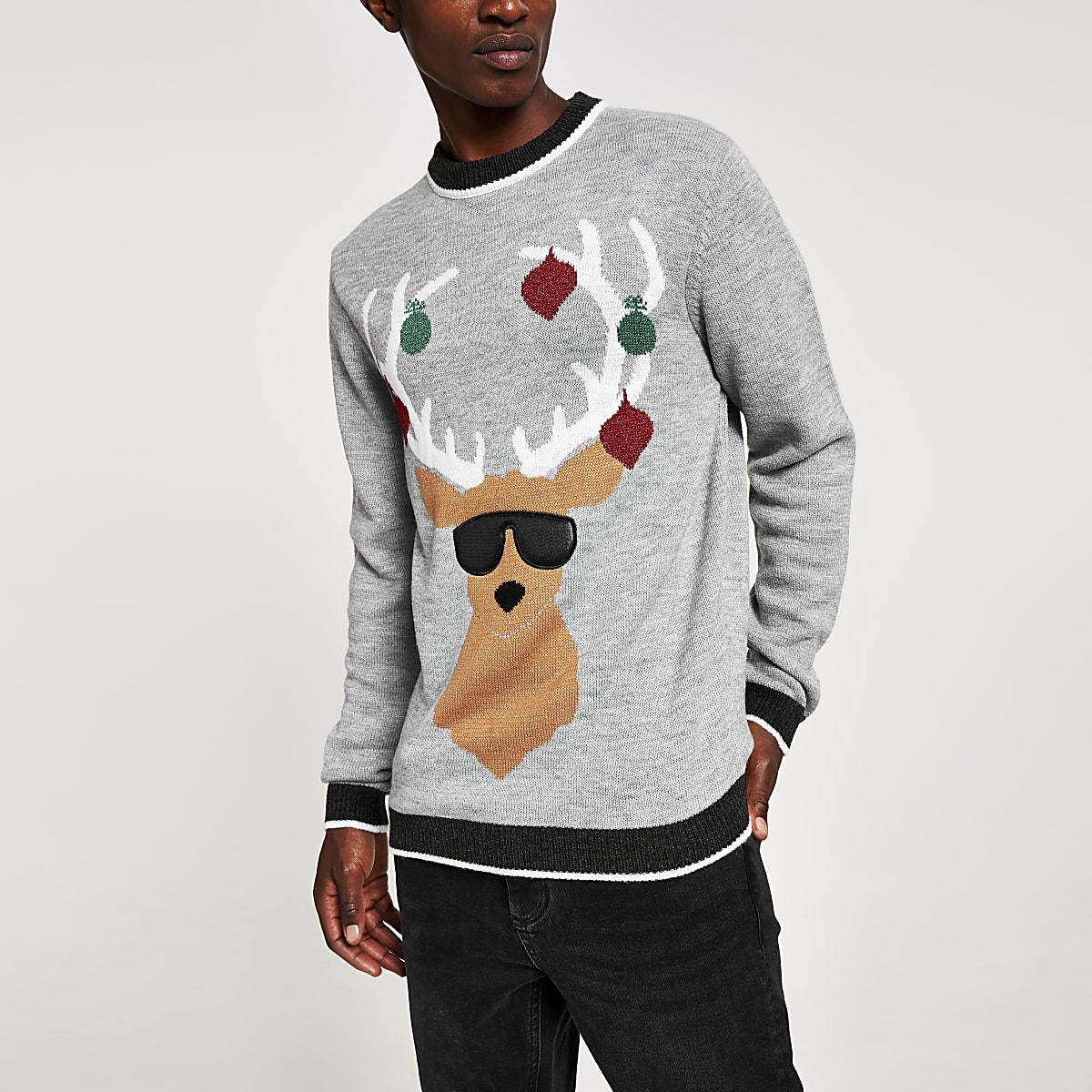 Pull de Noël gris chiné, imprimé renne