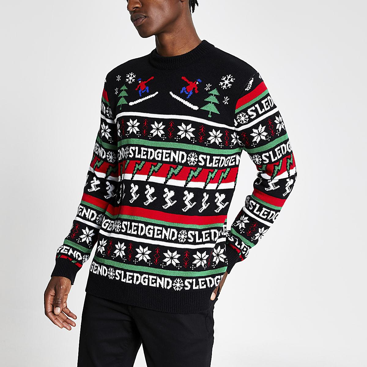 Pull de Noël en maille noire « Sledgend»