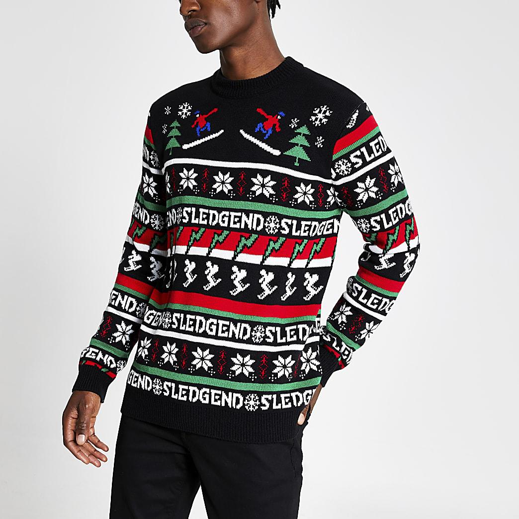Black 'Sledgend' knitted Christmas jumper